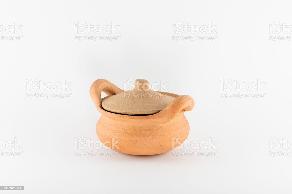 Antique clay pots stock photo