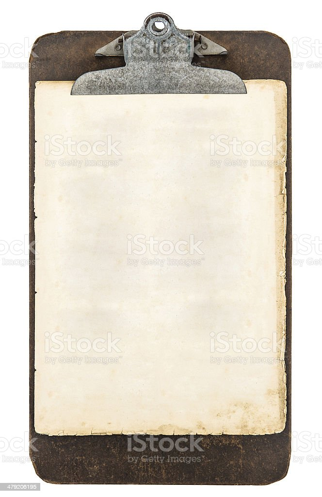 antique clipboard with sheet of paper isolated on white stock photo