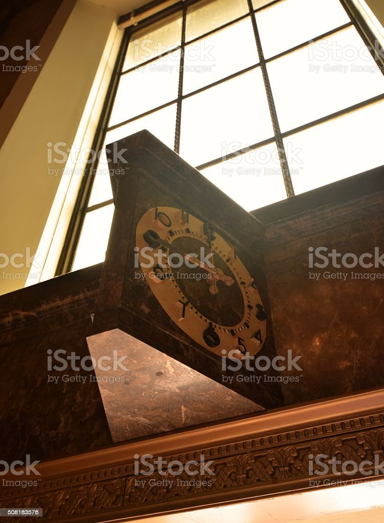 Antique clock and window in LA's Union Station stock photo
