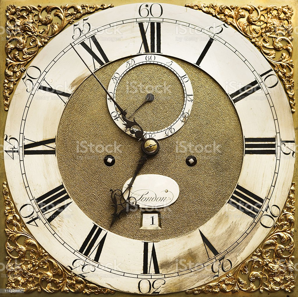 Antique clock face in close up royalty-free stock photo