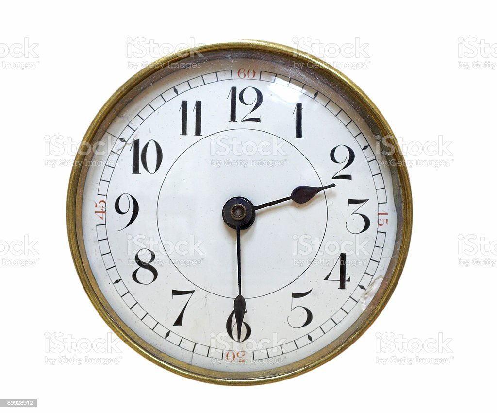 Antique clock face isolated on white royalty-free stock photo