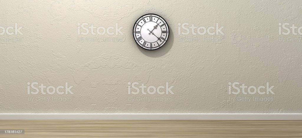 Antique Clock Hanging In Empty Room royalty-free stock photo