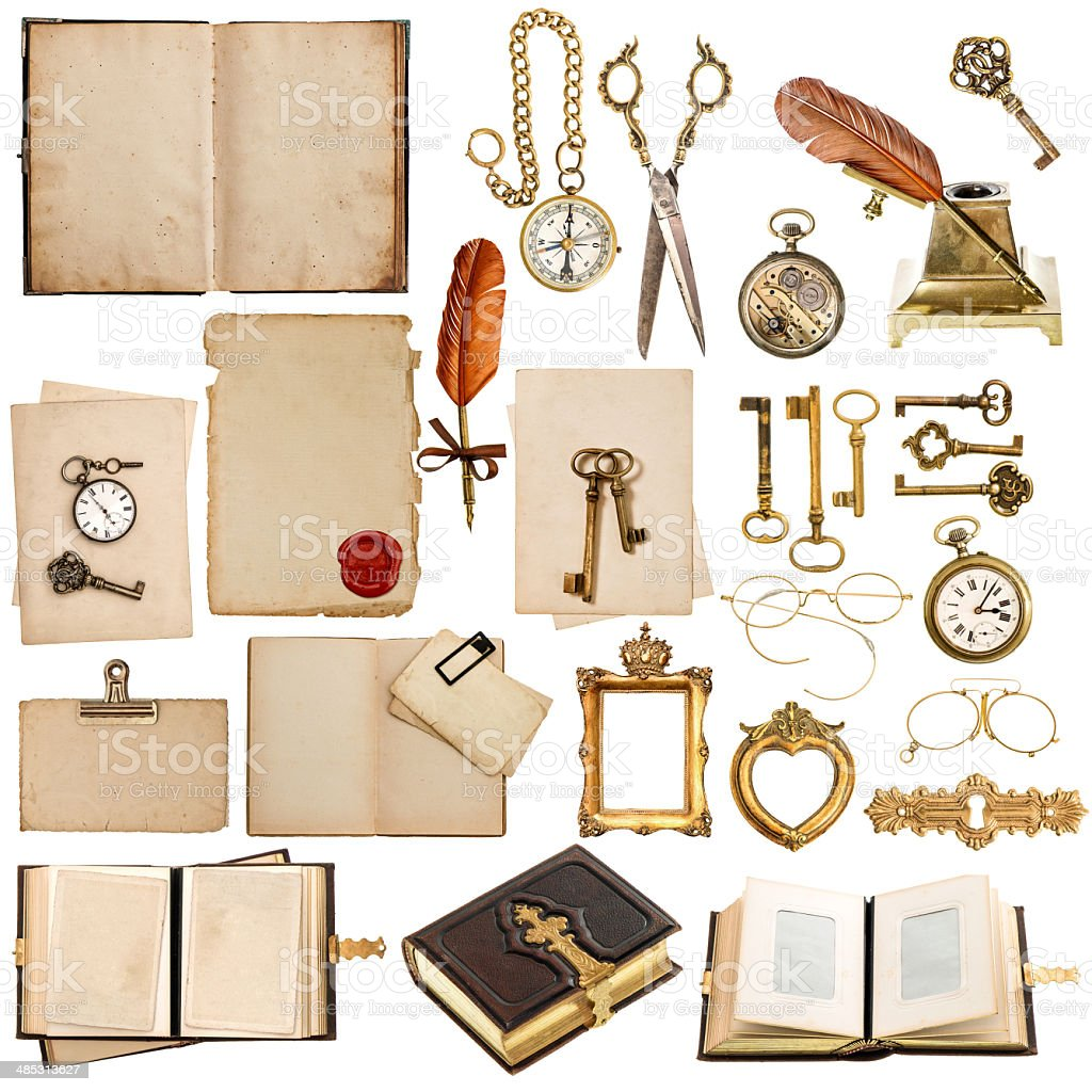 antique clock, key, papers, books, frames stock photo