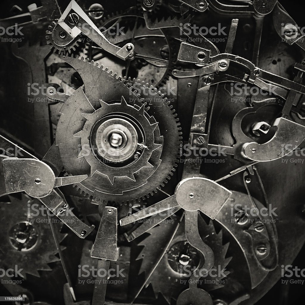 Antique Clock Mechanism stock photo