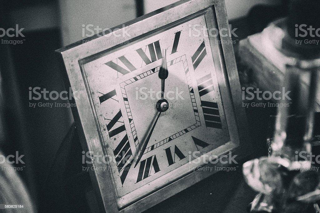 Antique clock - monochrome stock photo