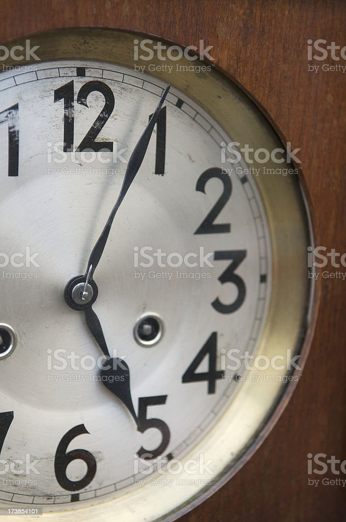 Antique Clock Shows End of the Business Day Five O'Clock royalty-free stock photo
