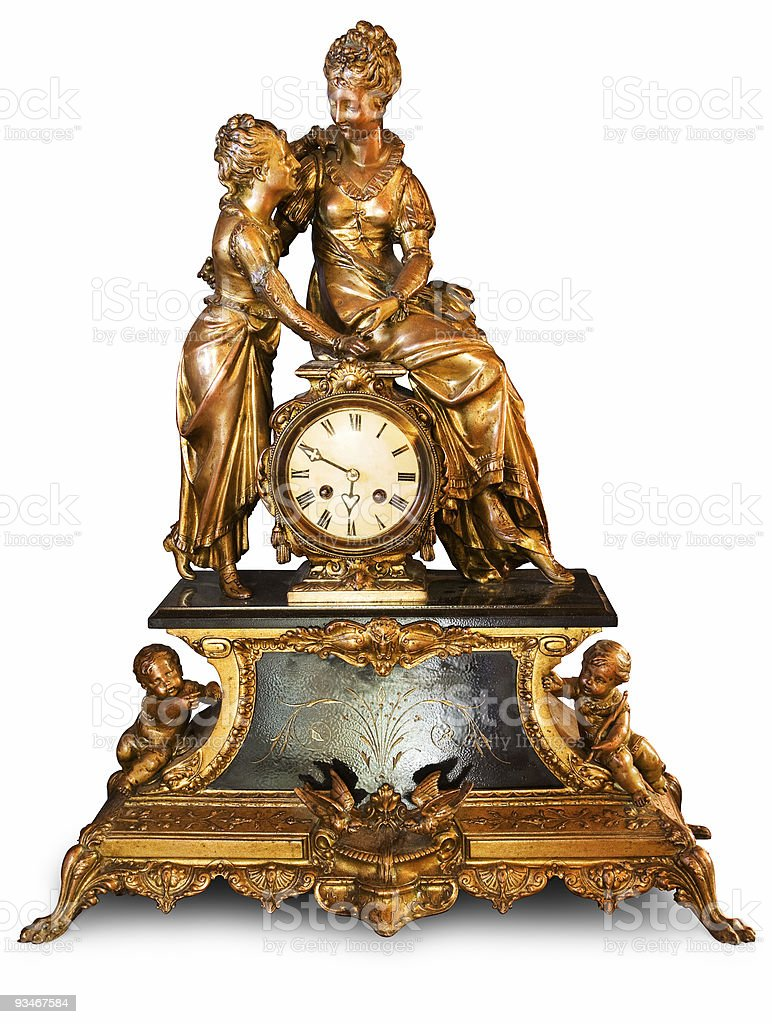 Antique clock with figurines royalty-free stock photo