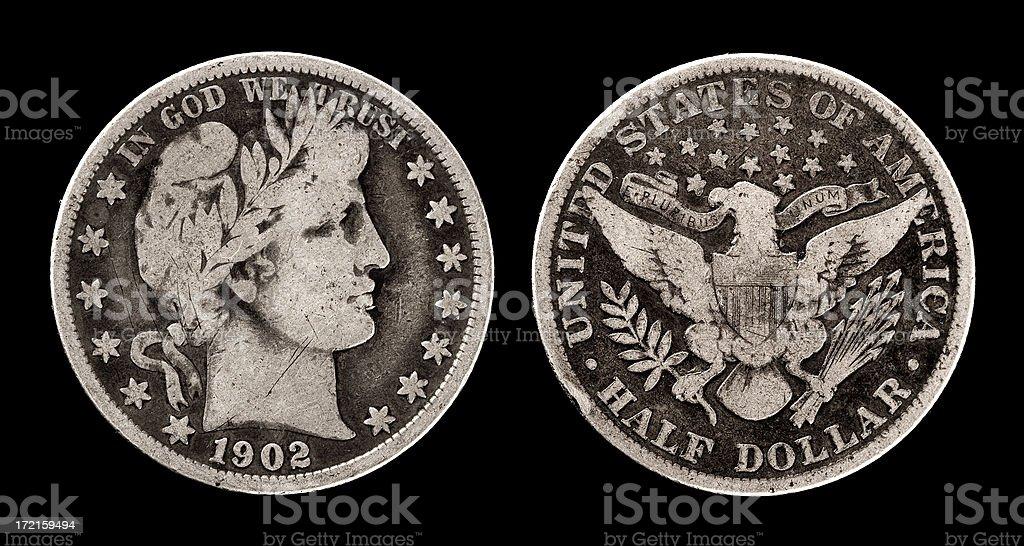 Antique coin stock photo