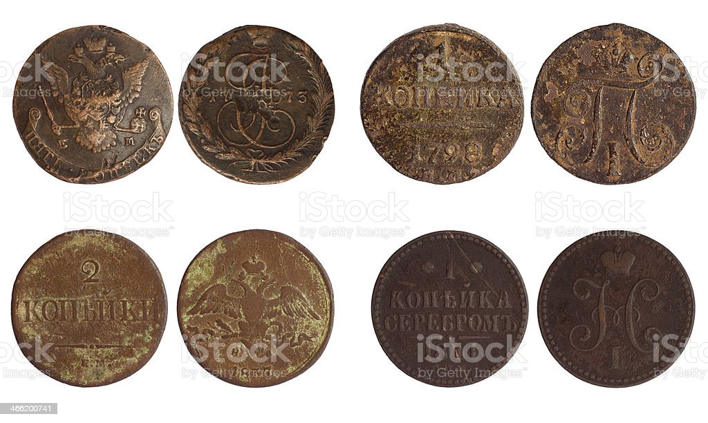 antique coins of russia 1773-1841 years stock photo