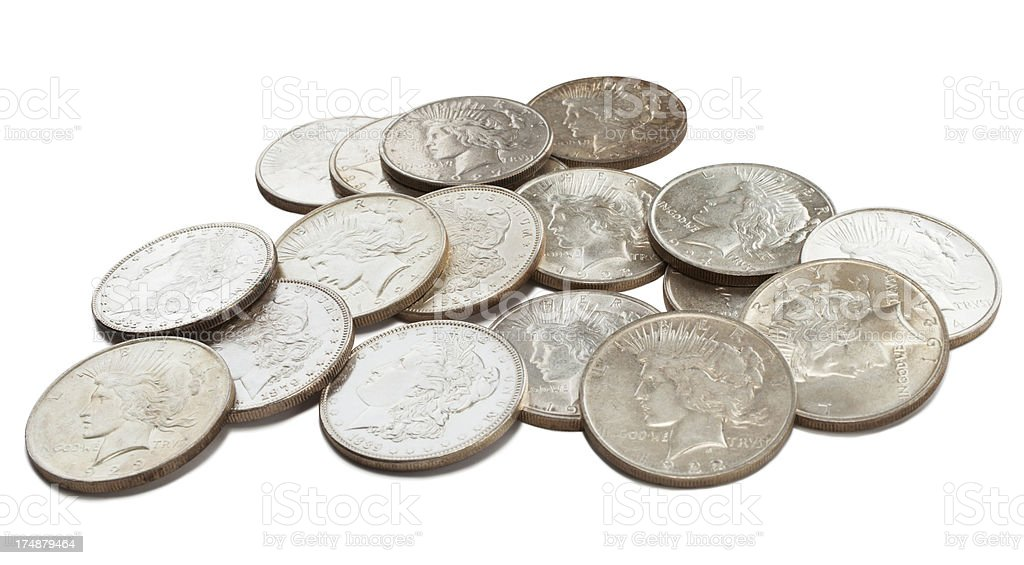 Antique Coins - Silver Dollars royalty-free stock photo