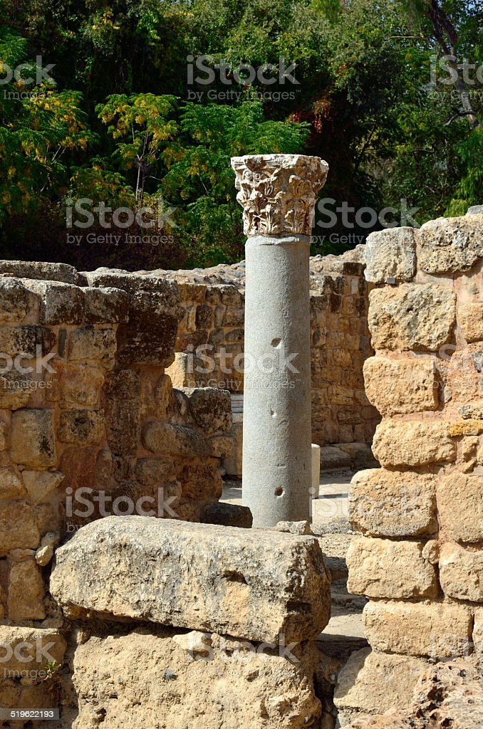 Antique column in Agrippa palace, Israel stock photo