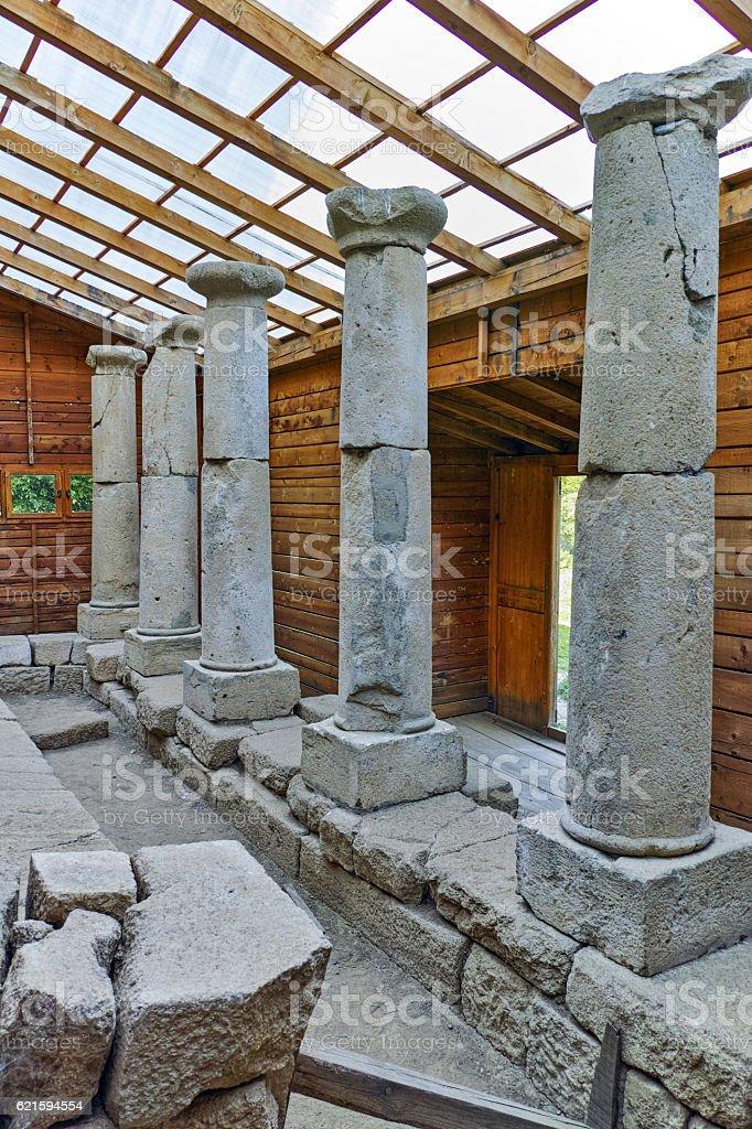 Antique columns in Thracian Temple Complex  of Starosel, Bulgaria stock photo