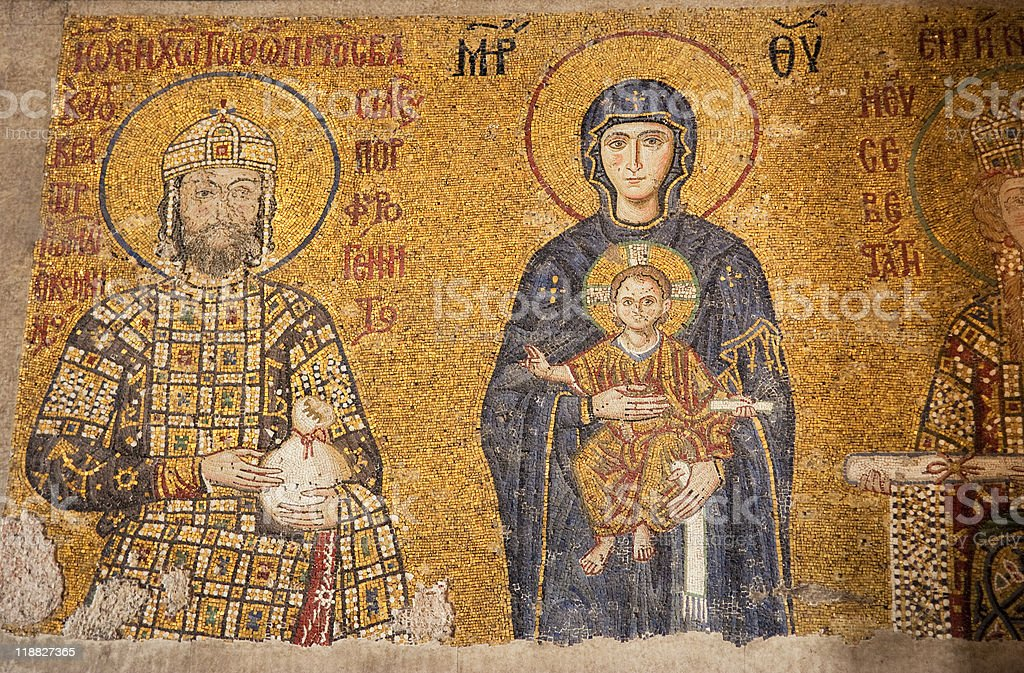 Antique Comnenus Mosaic of Virgin Mary with Jesus Christ royalty-free stock photo