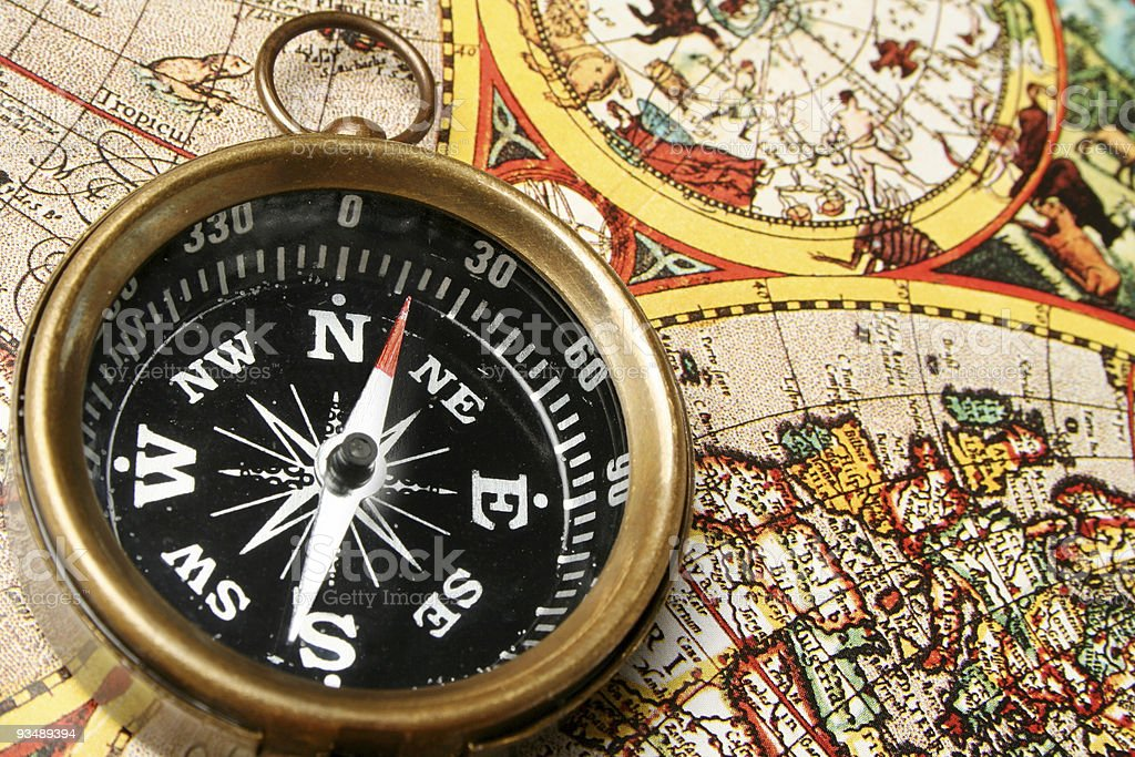 Antique Compass and old world royalty-free stock photo
