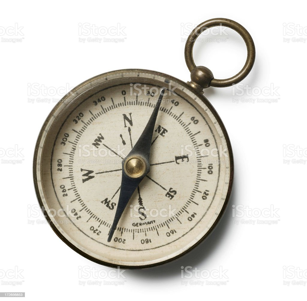 Antique Compass On White Background royalty-free stock photo