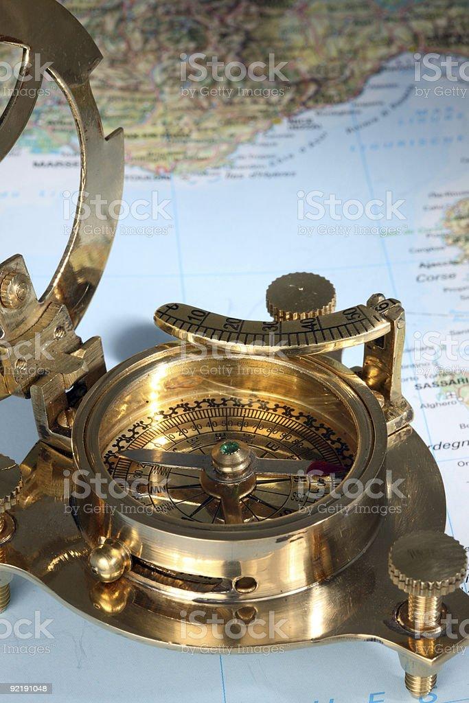 Antique compass. stock photo