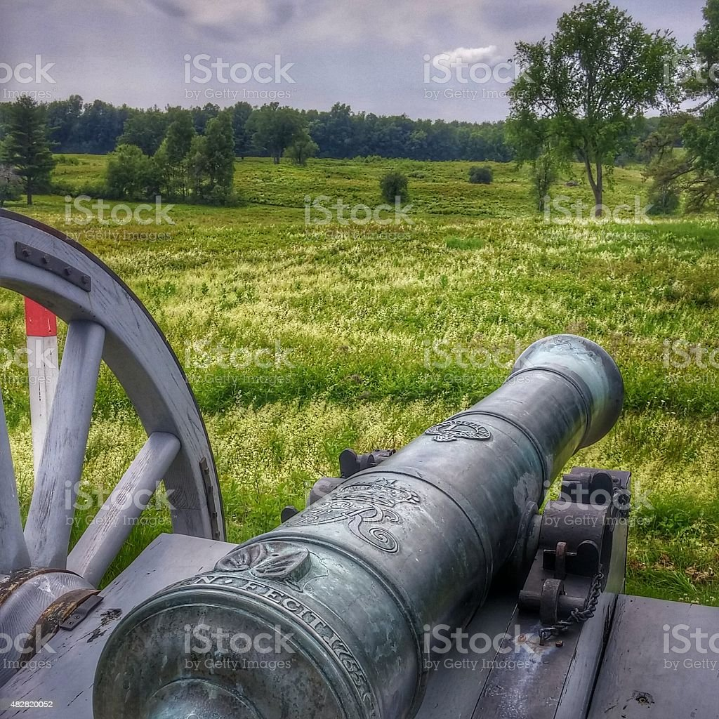 Antique Continental Army Revolutionary War Artillery Weapon Cannon, Saratoga Battlefield stock photo