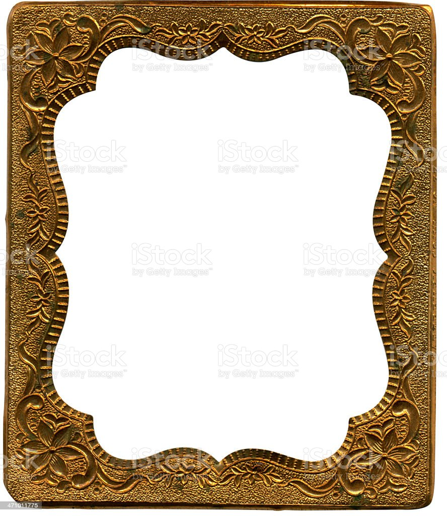 Antique copper tintype frame. royalty-free stock photo