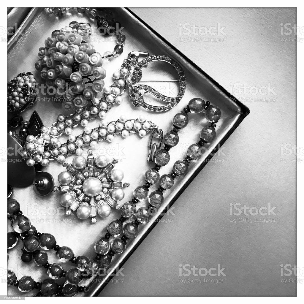 Antique Costume Jewelry stock photo