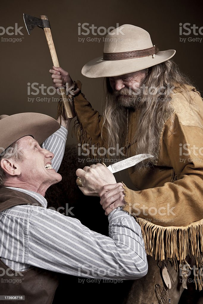 Antique Cowboy Fight royalty-free stock photo