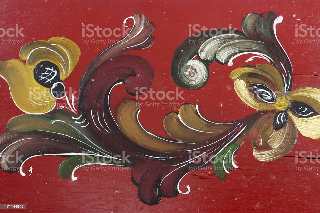 Antique Craft rosemaling painting detail royalty-free stock photo