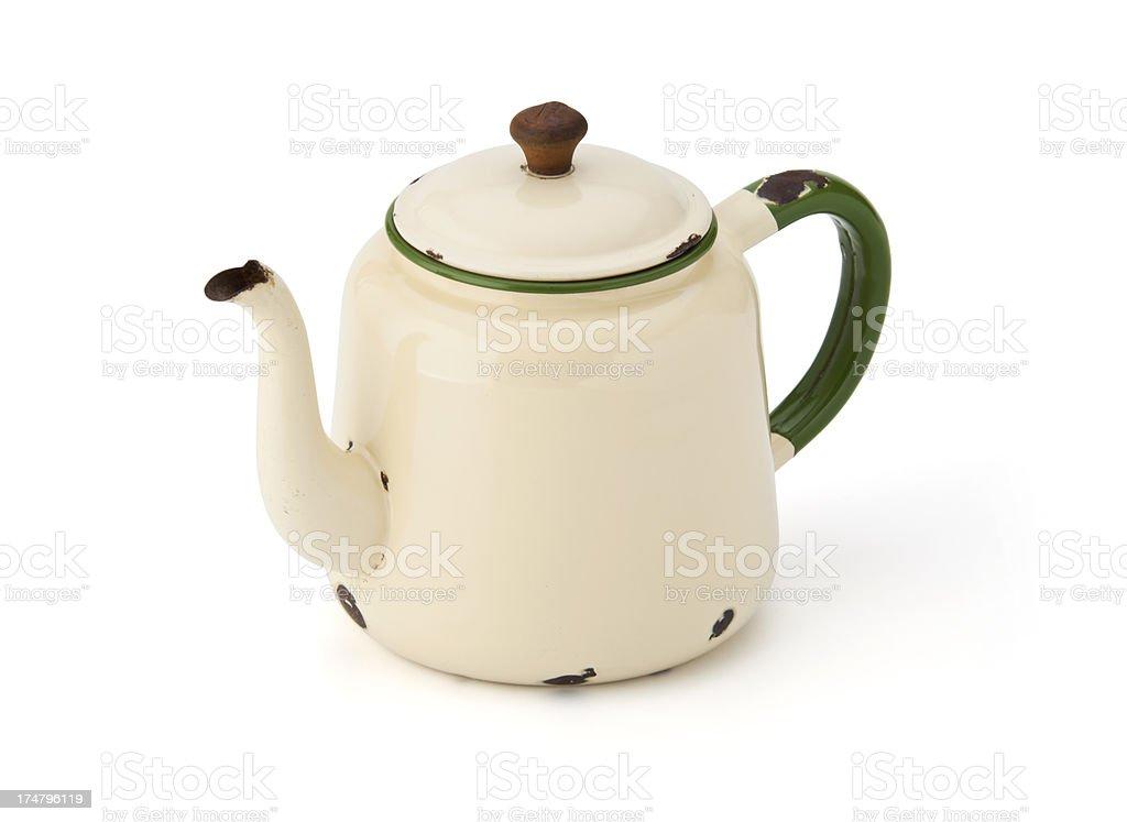 Antique cream metal teapot royalty-free stock photo