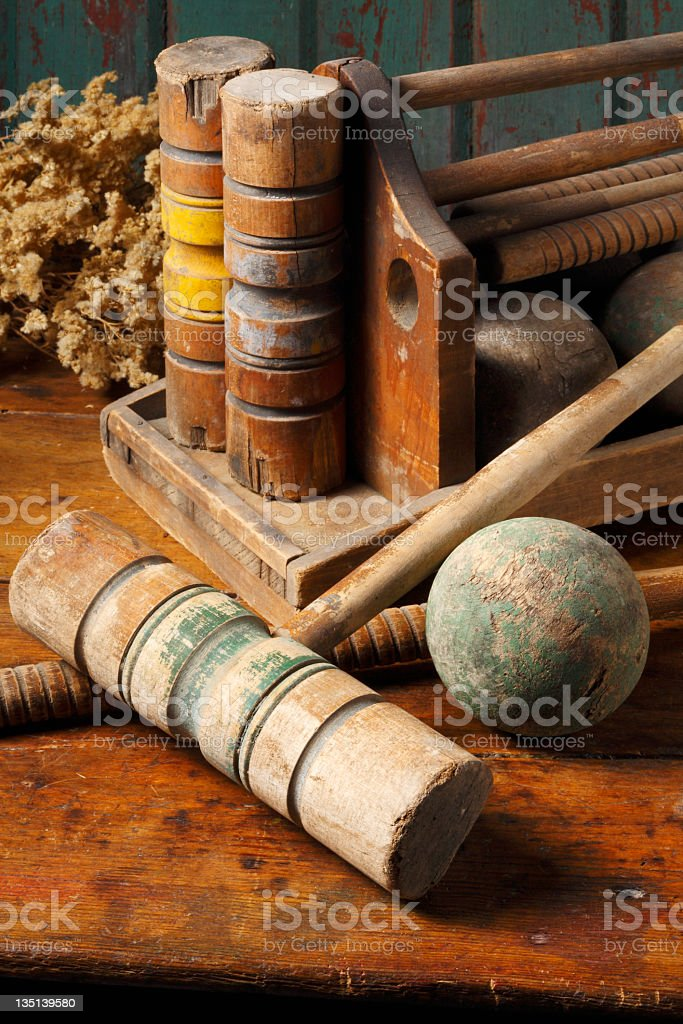 Antique Croquet set. stock photo
