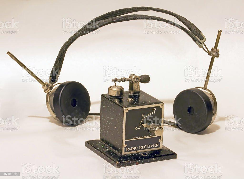 Antique crystal radio and headphones stock photo