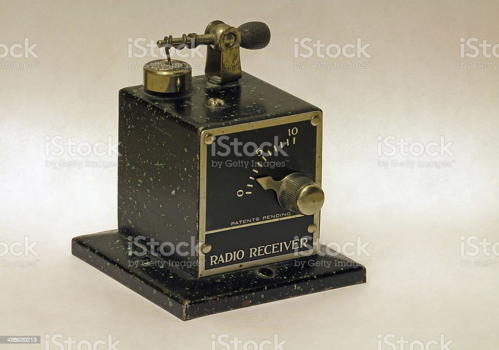 Antique crystal radio with tuning coil and adjustable detector stock photo