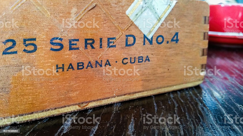 Antique Cuban cigar box - side view stock photo