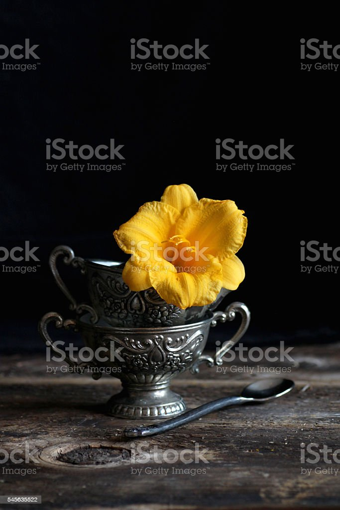 Antique cup with a flower stock photo