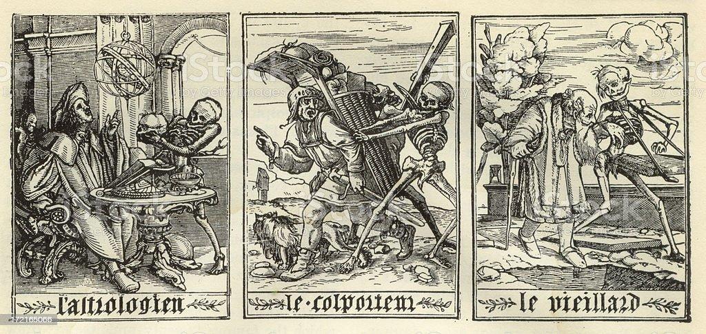 Antique Death Illustrations stock photo