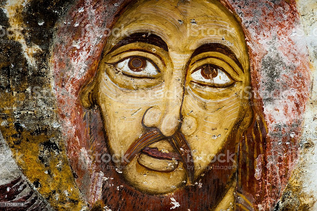 Antique Deesis Fresco of Jesus Christ stock photo