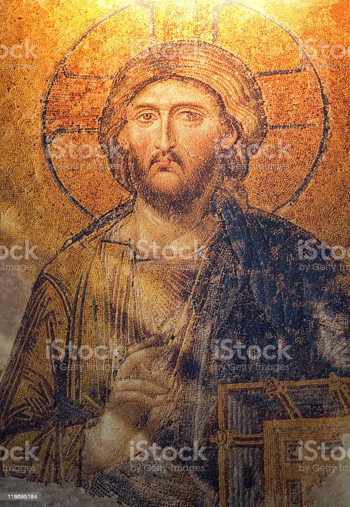 Antique Deesis Mosaic of Jesus Christ royalty-free stock photo