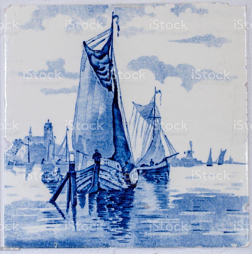 Antique Delfts Blue tile stock photo