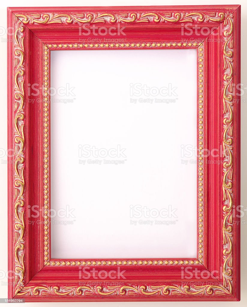 Antique Design Red Painted Wood Empty Picture Photograph Frame Background stock photo