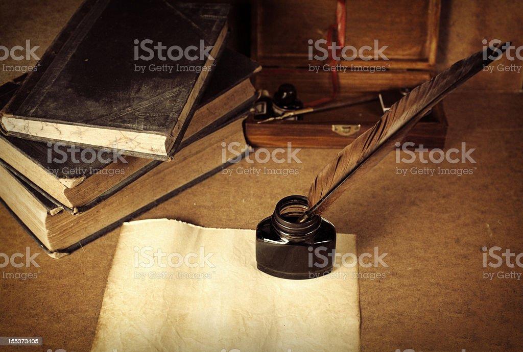 Antique desktop surface stock photo
