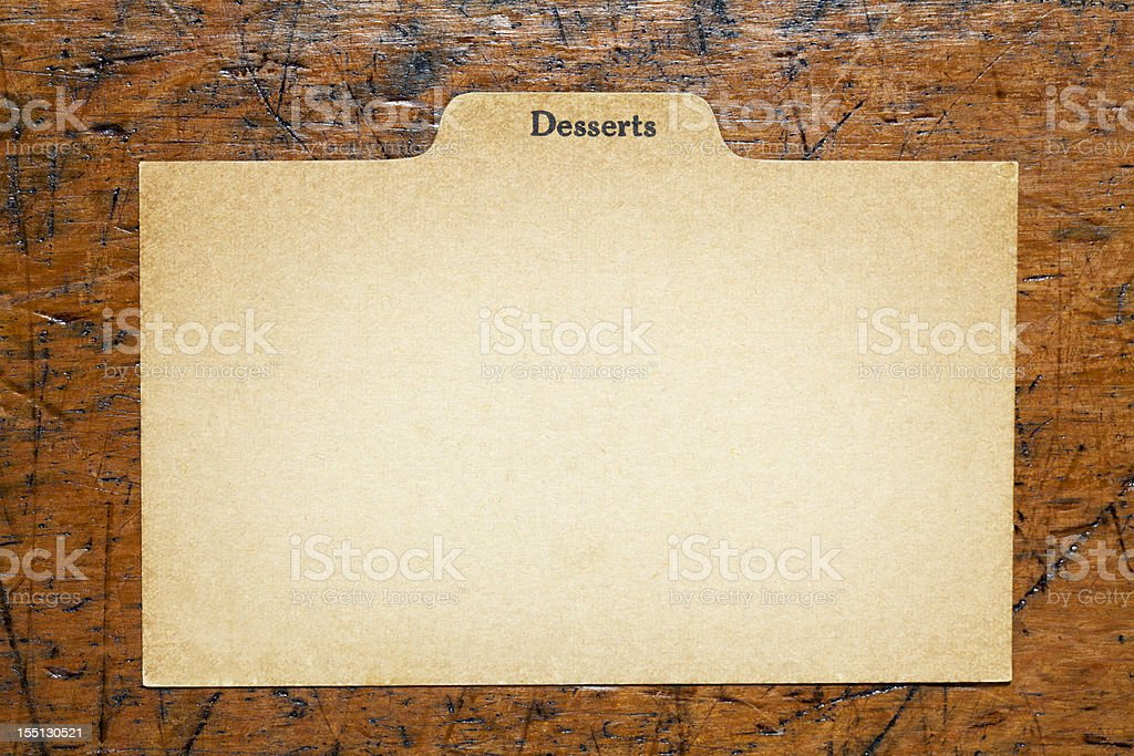 Antique Dessert & Baking Blank Index Recipe, Old Paper Card Background royalty-free stock photo