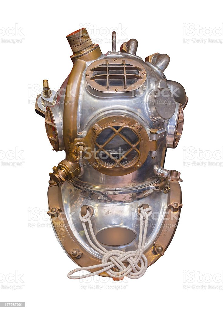 Antique diving helmet, isolated stock photo