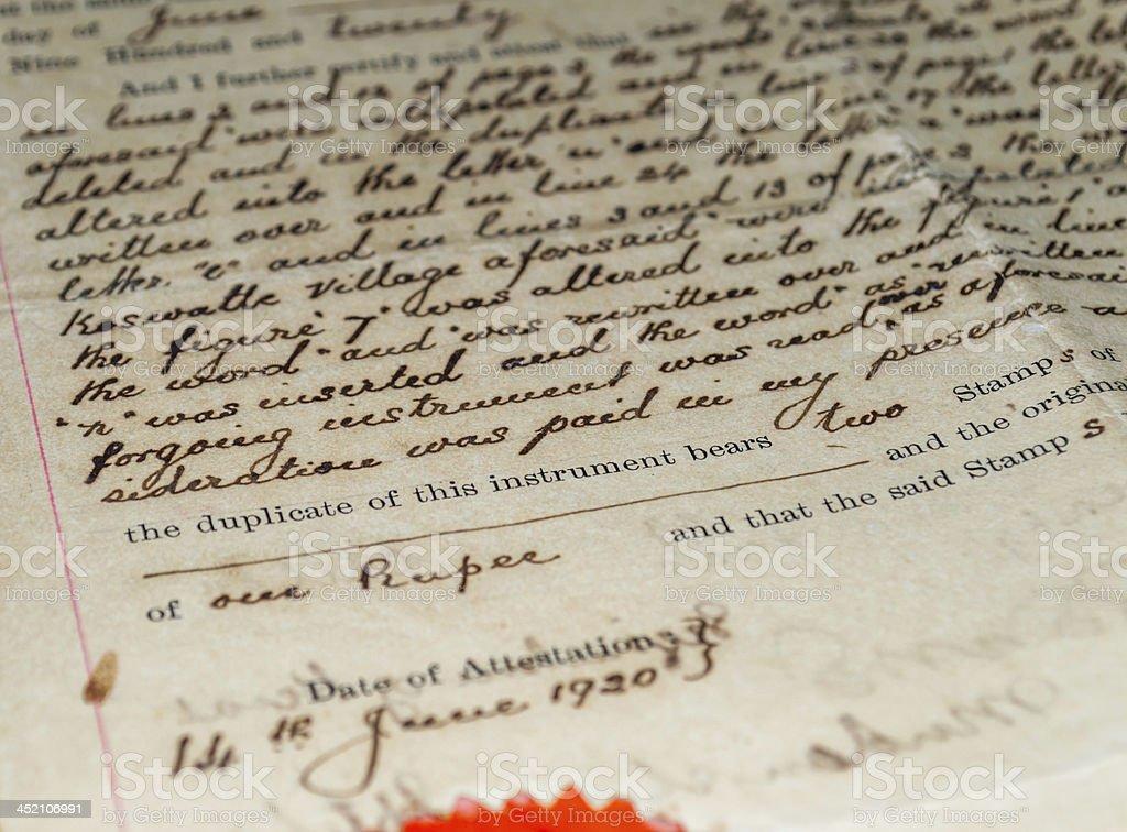 antique document stock photo