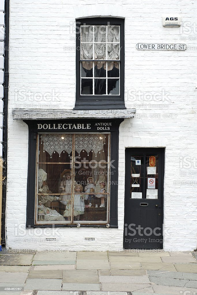 Antique dolls shop in Chester royalty-free stock photo