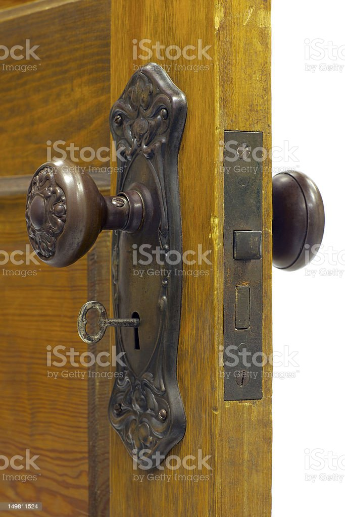 Antique door handle with skeleton key in the keyhole royalty-free stock photo