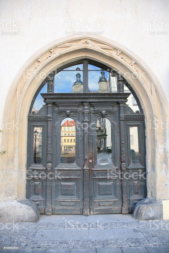 Antique door in Lutherstadt Wittenberg, Germany stock photo