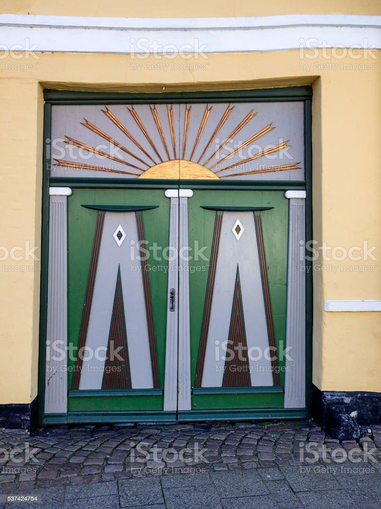 Antique door in medieval city of Ribe, Denmark stock photo