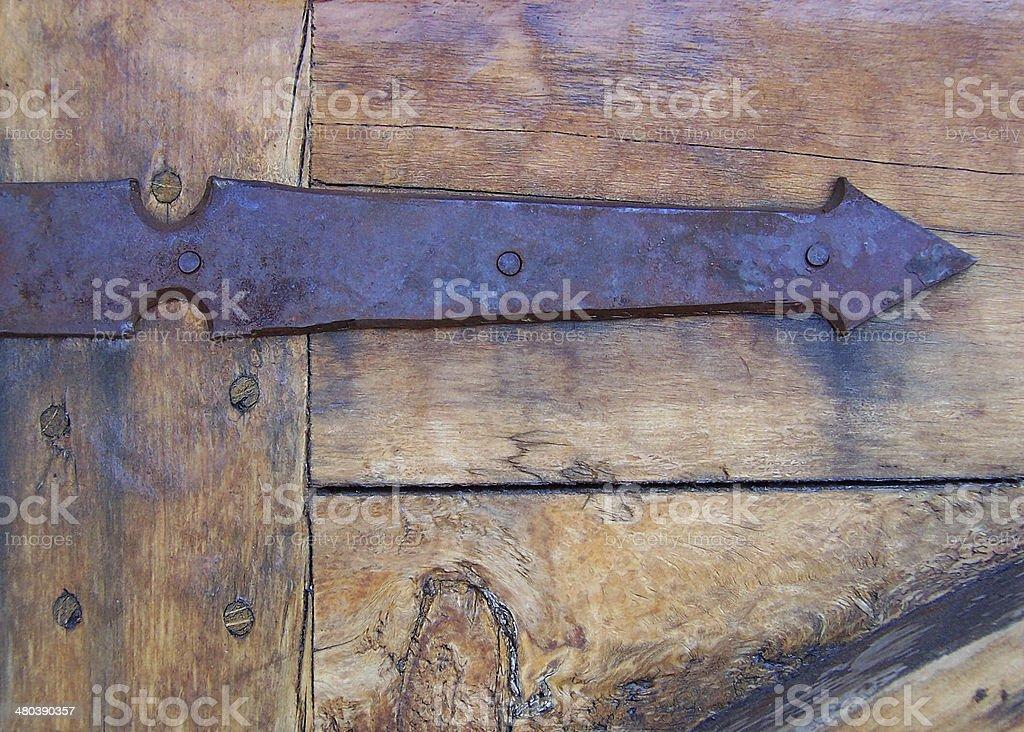 Antique Door Iron Arrow Hinge royalty-free stock photo