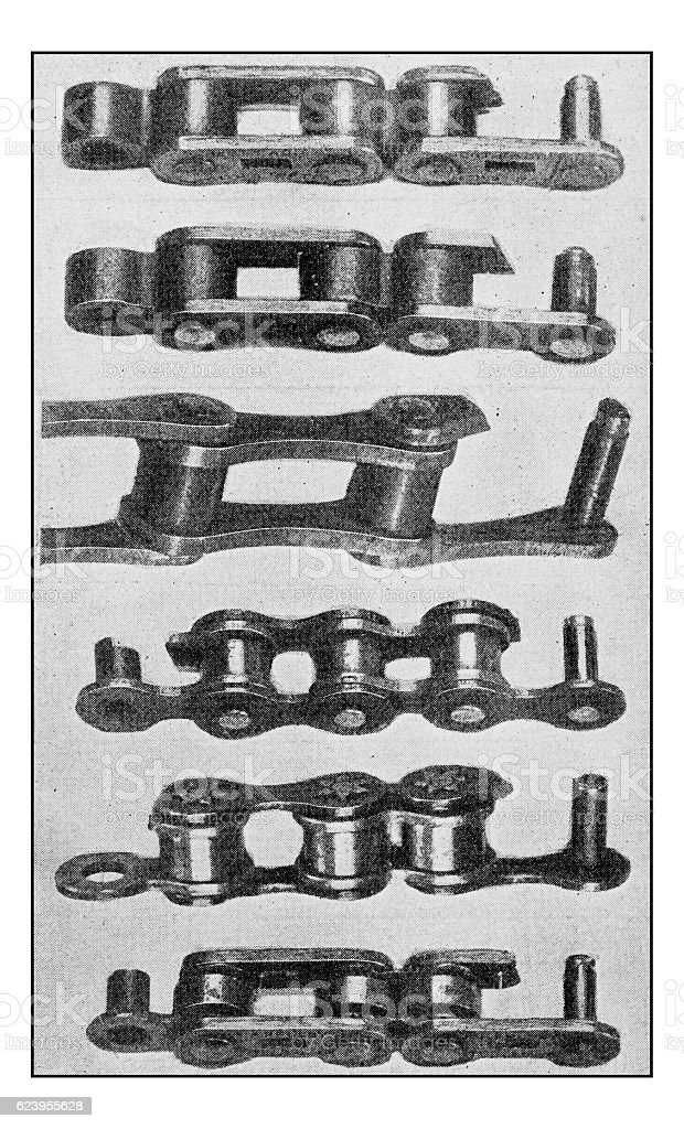 Antique dotprinted photograph of Hobbies and Sports: Bike chain stock photo