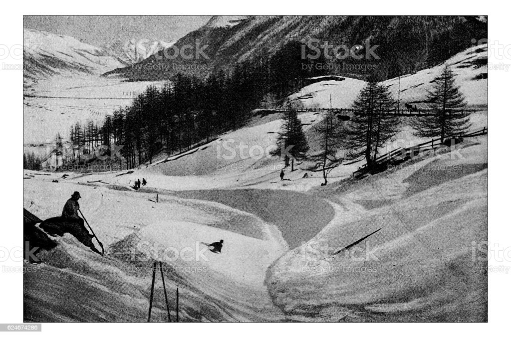 Antique dotprinted photograph of Hobbies and Sports: bobsleigh stock photo