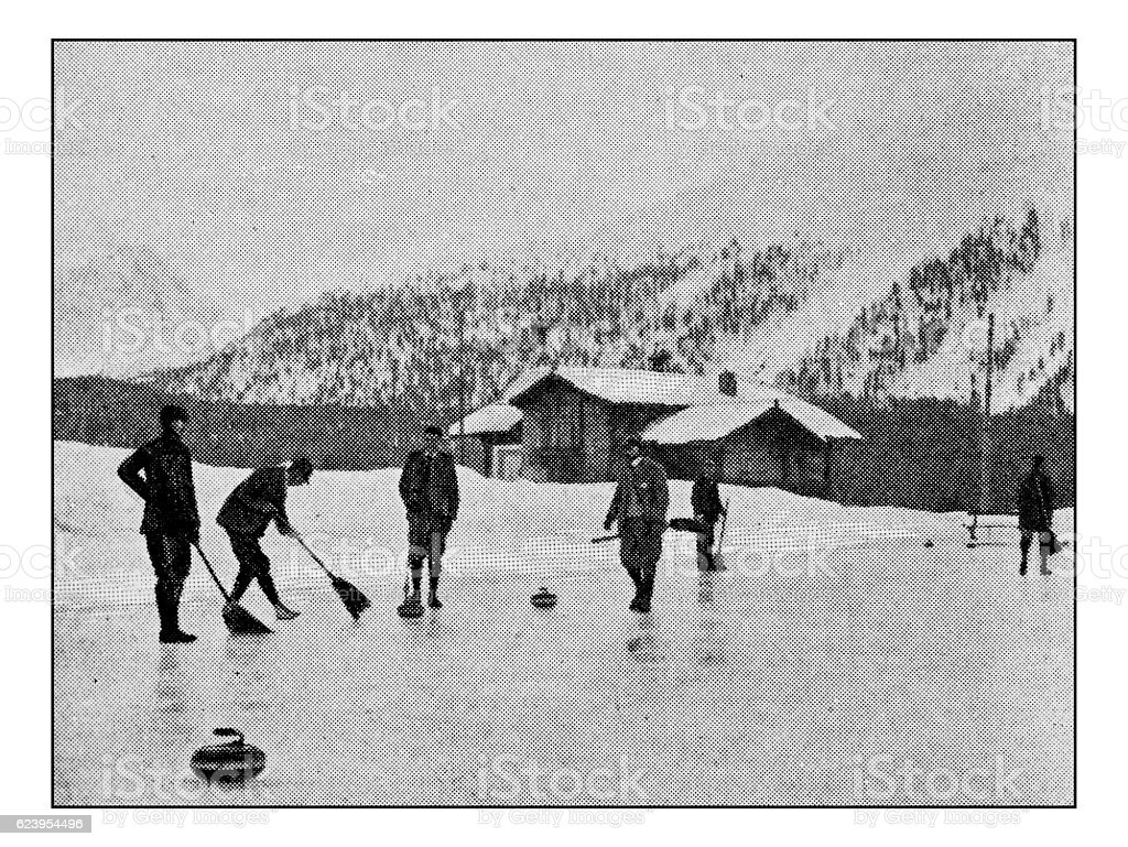 Antique dotprinted photograph of Hobbies and Sports: Curling stock photo