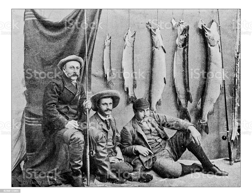 Antique dotprinted photograph of Hobbies and Sports: Fishermen stock photo