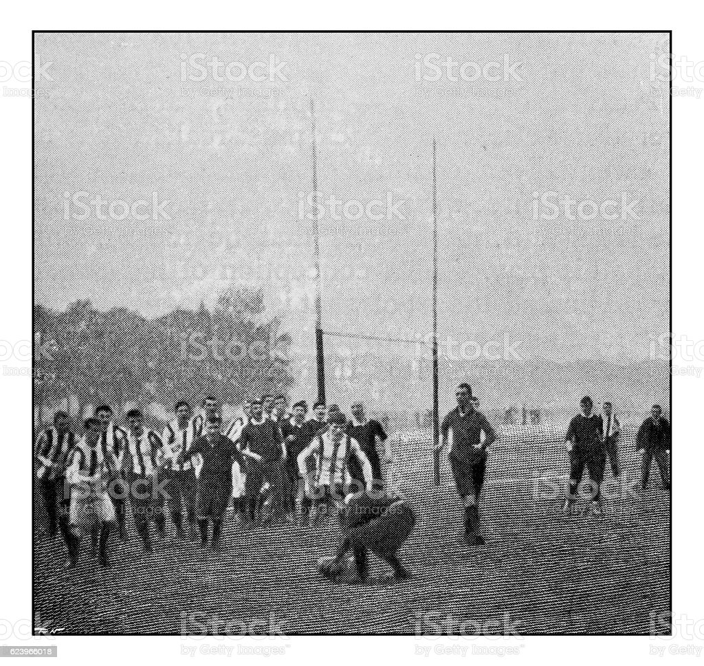 Antique dotprinted photograph of Hobbies and Sports: Football / Rugby stock photo